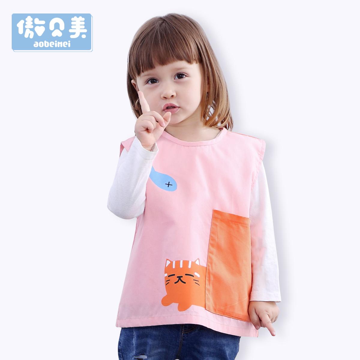 四季宝宝防水围兜儿童罩衣婴儿纯棉吃饭衣男女童反穿衣无袖围裙