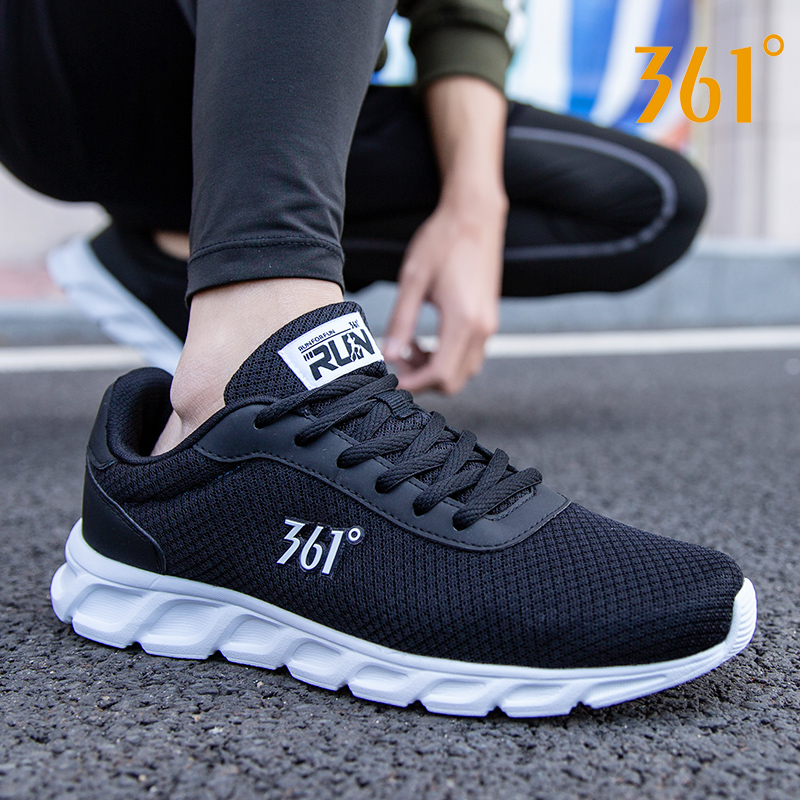 361男鞋运动鞋男士春季网鞋黑色361度冬季休闲鞋子网面透气跑步鞋