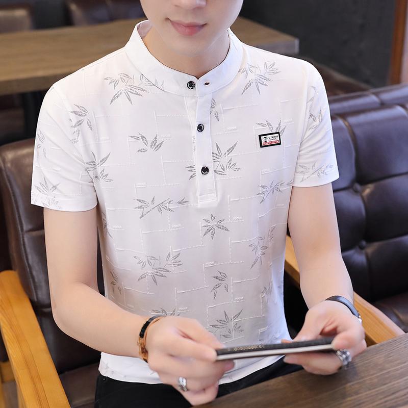 新款男士短袖t恤个性韩版潮流夏季男装polo衫活力青年修身舒适恤