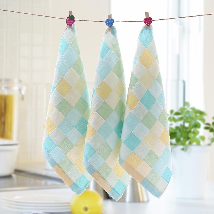 6条装纱布小方巾纯棉双层毛巾新生儿手绢宝宝手帕婴儿口水巾
