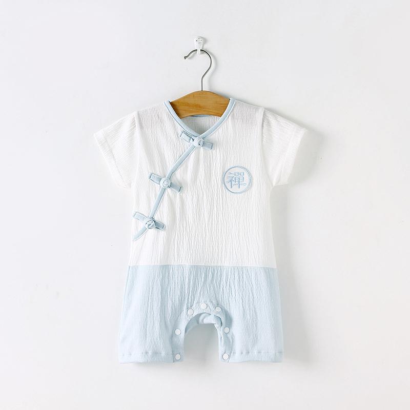 婴儿连体衣短袖纯棉男女宝宝夏装哈衣薄款初新生儿睡衣服夏季汉服