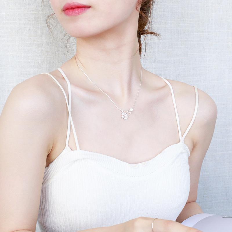 樱花项链 女925纯银日韩系粉晶甜美女锁骨链简约花朵吊坠生日礼物