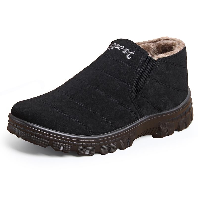 爷爷鞋男棉鞋冬季加绒中老年男式一脚蹬布鞋老人鞋防滑正品老头鞋