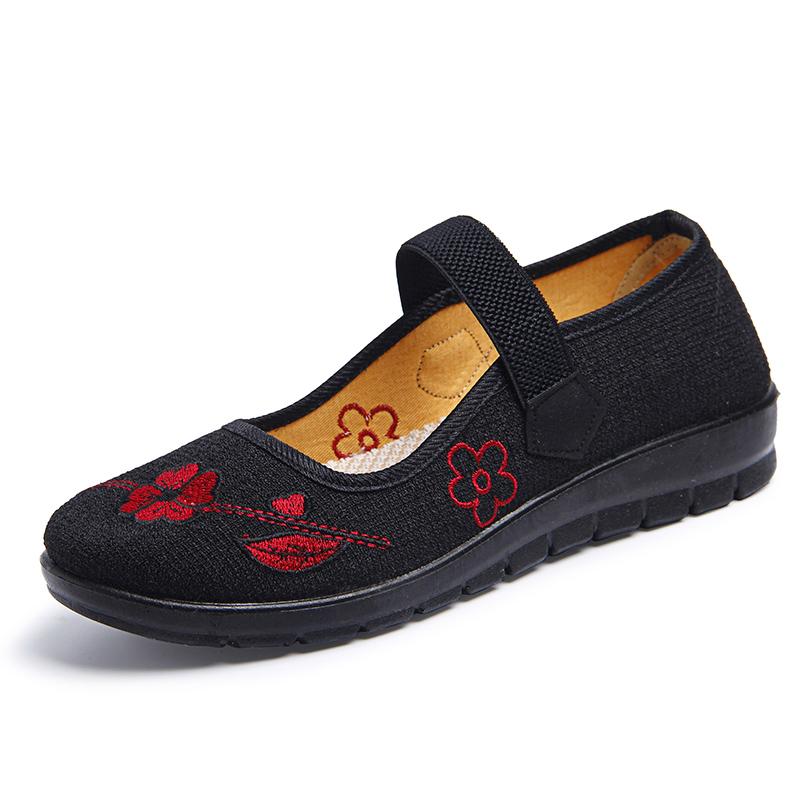 老北京布鞋女秋中老年女式妈妈鞋工作鞋老人鞋防滑软底奶奶鞋单鞋