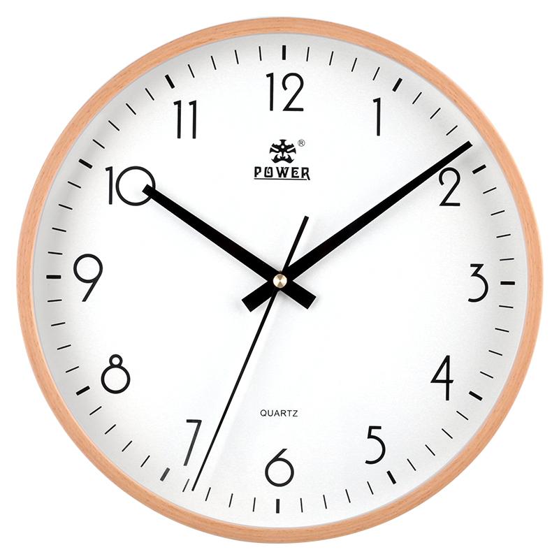 霸王挂钟北欧创意客厅实木简约田园时钟卧室家用静音欧式石英钟表