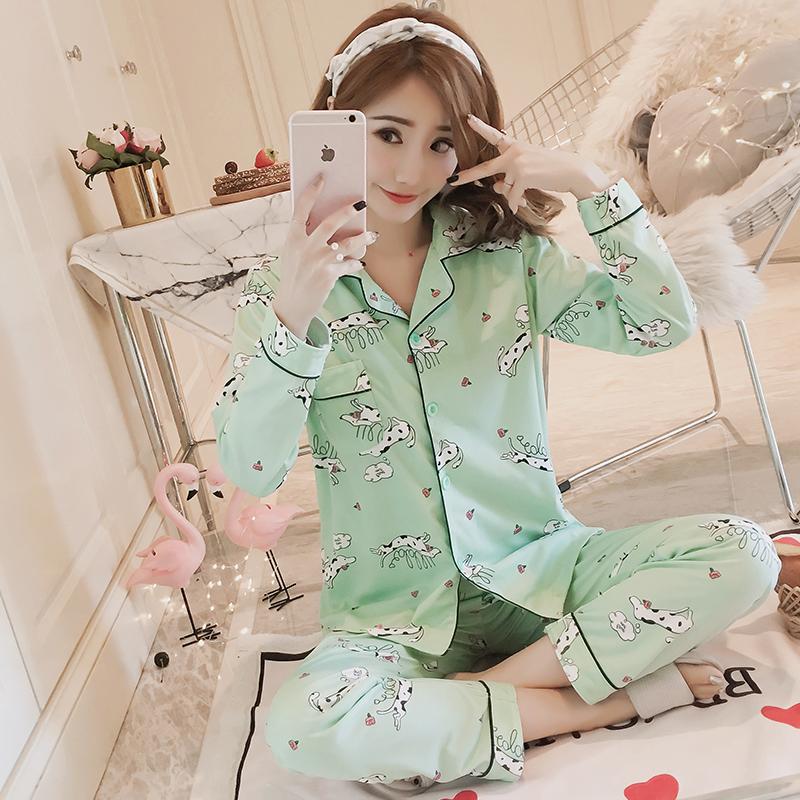 韩版开衫可爱软妹睡衣少女秋纯棉长袖套装秋款家居服春秋季闺蜜装