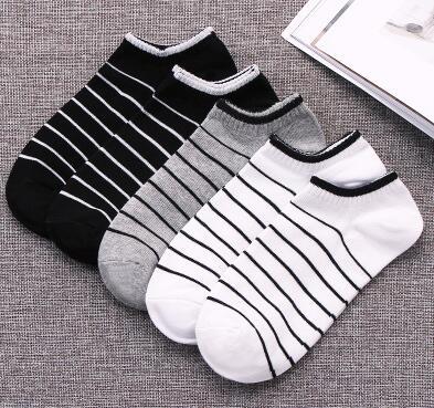 袜子男短袜棉袜夏季男士船袜纯棉浅口低帮运动袜短筒条纹个性男袜