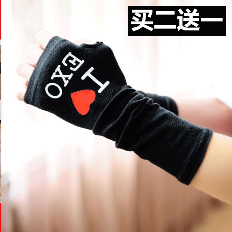 韩版可爱半指手套女冬运动露指学生写字简约针织加厚无指保暖手套