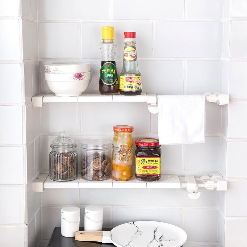 窗台伸缩置物架厨房浴室卫生间隔板免打孔可伸缩夹缝撑杆分层架