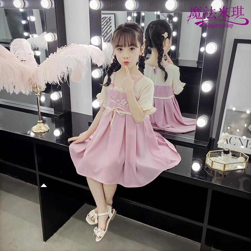女童连衣裙夏装2019新款儿童裙子潮夏季中长款超仙中国风汉服洋气
