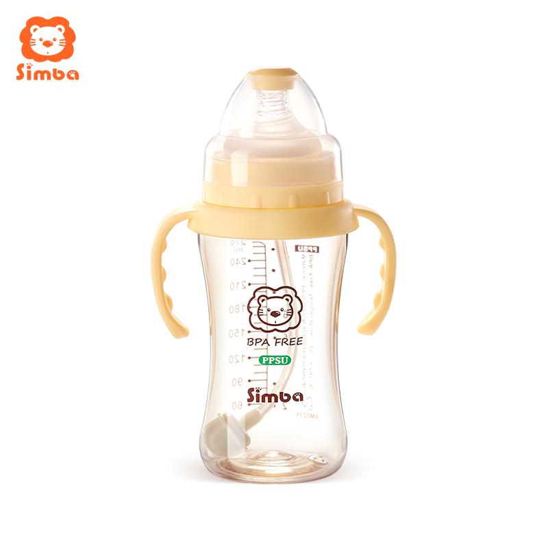 小狮王辛巴婴儿奶瓶ppsu耐摔宽口径带手柄吸管宝宝防呛重力球奶瓶