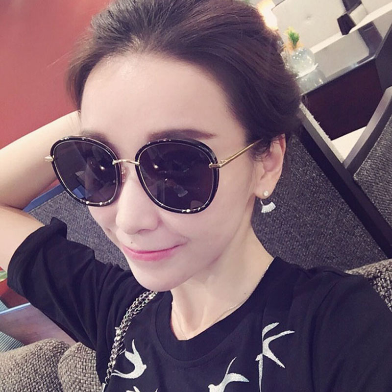 爱靓平片花框彩膜反光太阳镜女个性圆脸墨镜潮韩版男女士太阳眼镜
