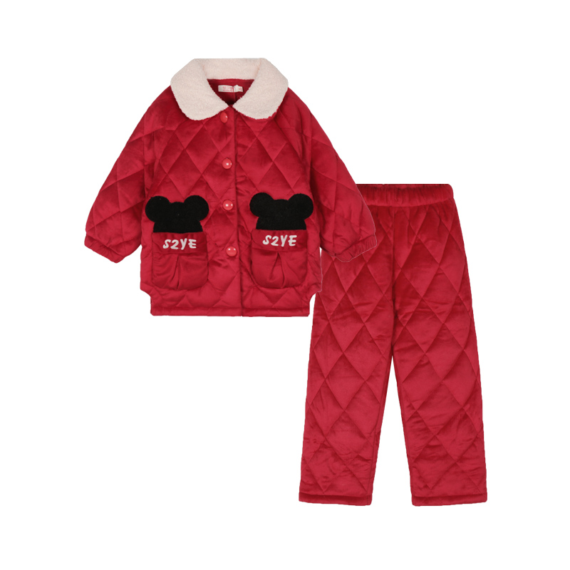 儿童睡衣女童冬季珊瑚绒加厚三层夹棉秋冬女孩加绒保暖家居服新款