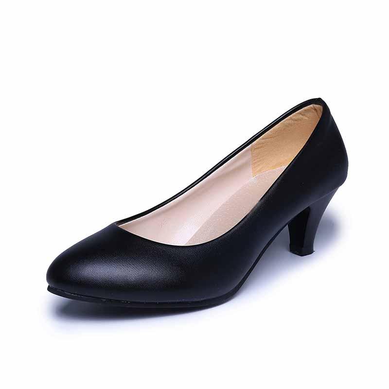黑色工作鞋女2018新款秋季韩版百搭粗跟单鞋尖头高跟鞋职业面试鞋