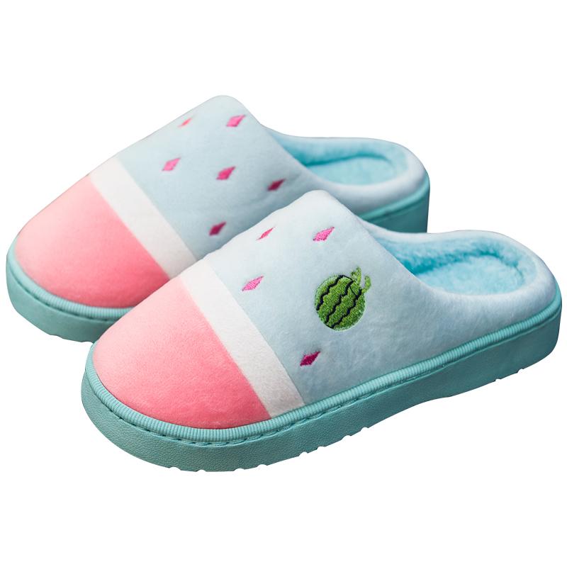 棉拖鞋女冬季2019新款包跟室内居家用情侣可爱家居毛拖鞋男秋冬天