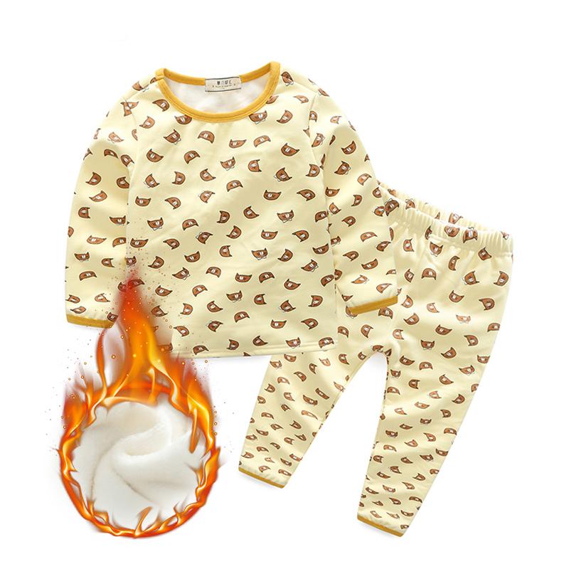 儿童保暖内衣套装纯色男女童秋衣打底衫中小童宝宝卡通秋冬睡衣