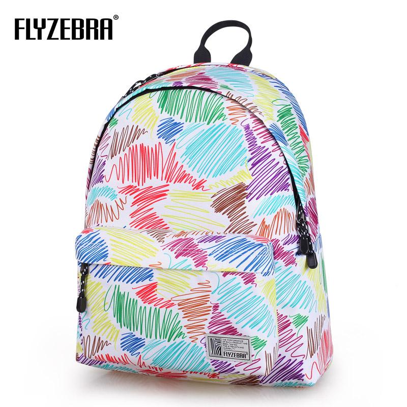 飞斑马双肩包女印花背包书包韩版潮个性时尚14寸电脑旅行包中学生