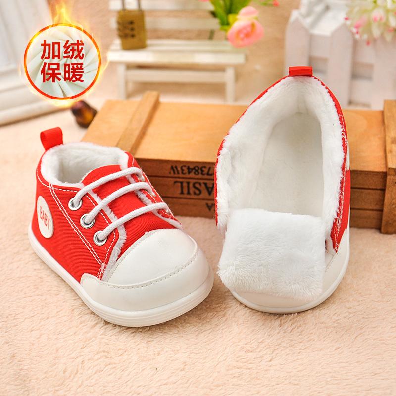 小溜宝秋冬季加绒学步鞋子6-12个月婴儿软底棉布0-1岁半男2女宝宝