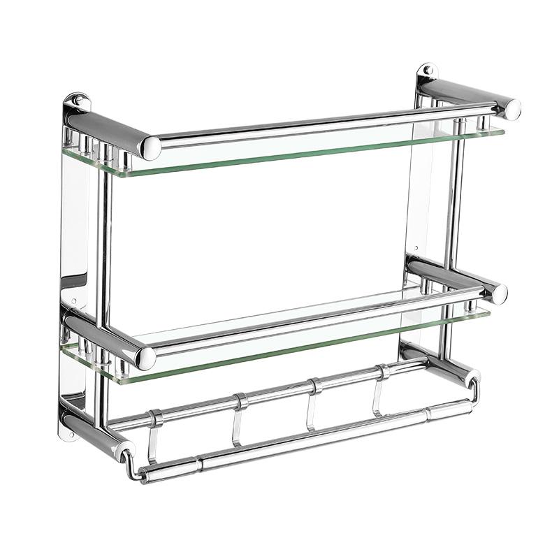 層不鏽鋼衛浴用品 3 層 2 衛生間置物架壁掛浴室雙層玻璃毛巾架免打孔
