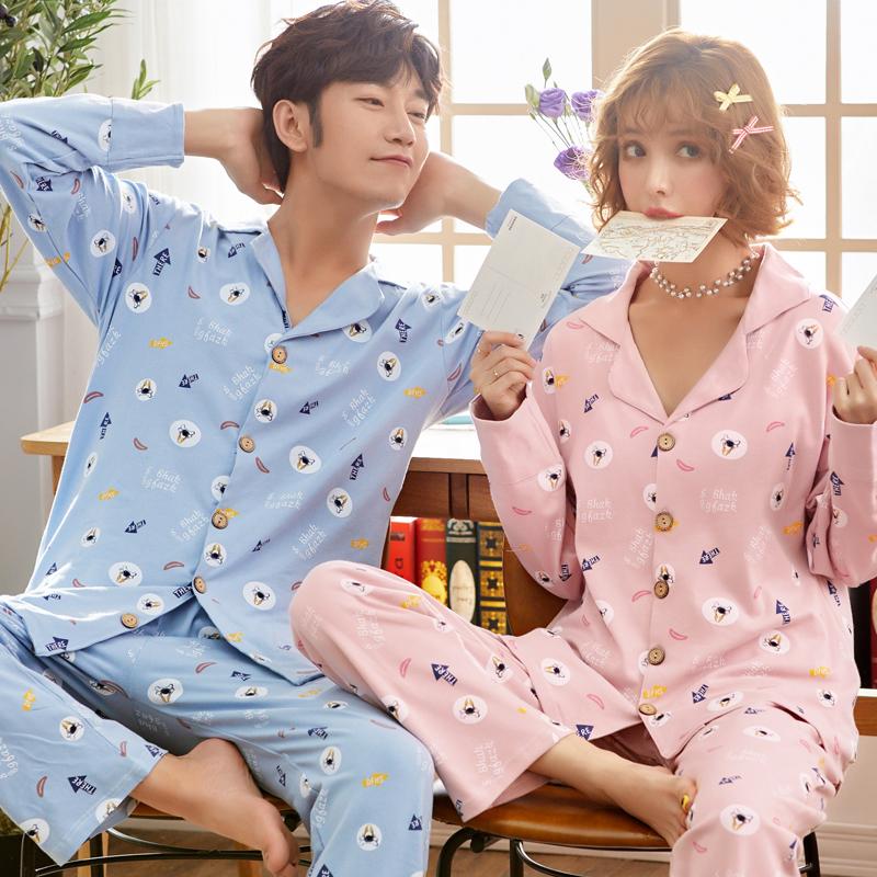 韩版情侣睡衣卡通长袖纯棉清新可爱男女士舒适家居服套装圆领套头