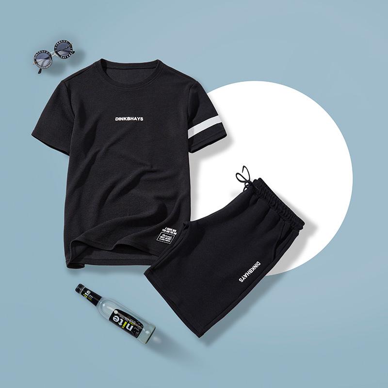 套装男休闲圆领T恤五分裤短裤男时尚休闲两件组合装运动套装训练