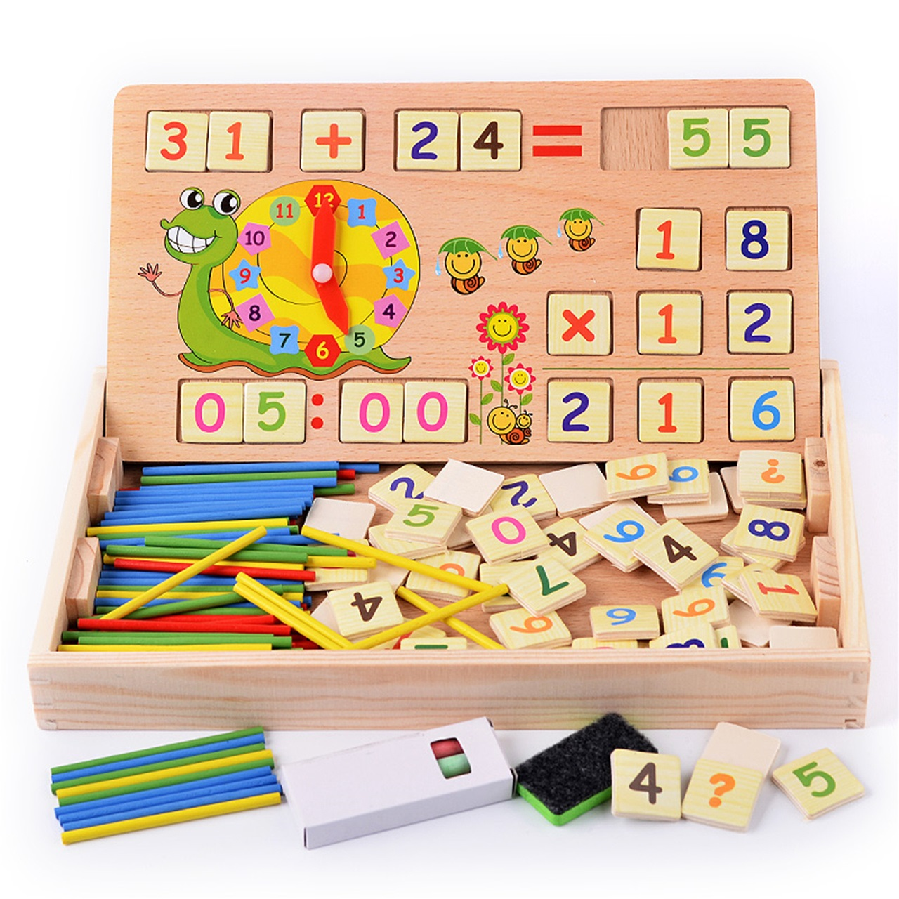 儿童数数棒数字数学加减法学习盒早教画板益智玩具多功能学前教具
