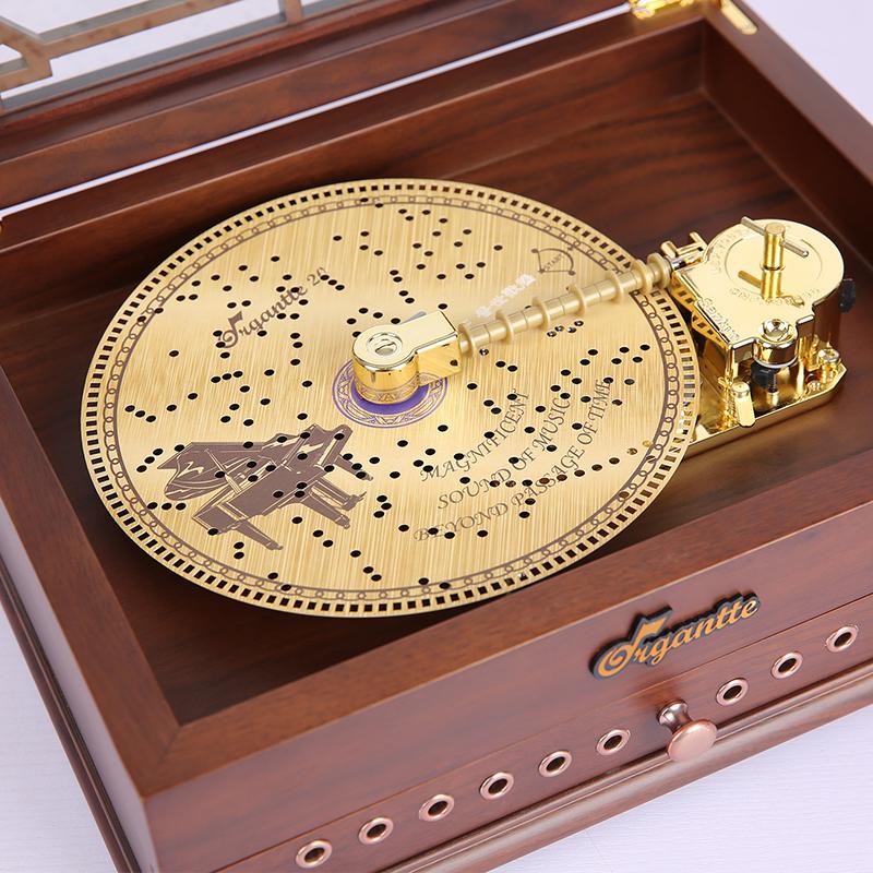 音乐盒天空之城木质八音盒唱盘千与千寻卡农情人节礼物 Sankyo 日本