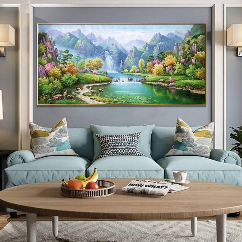 欧式手绘油画客厅装饰沙发背景墙高山流水挂画手工山水风景画壁画