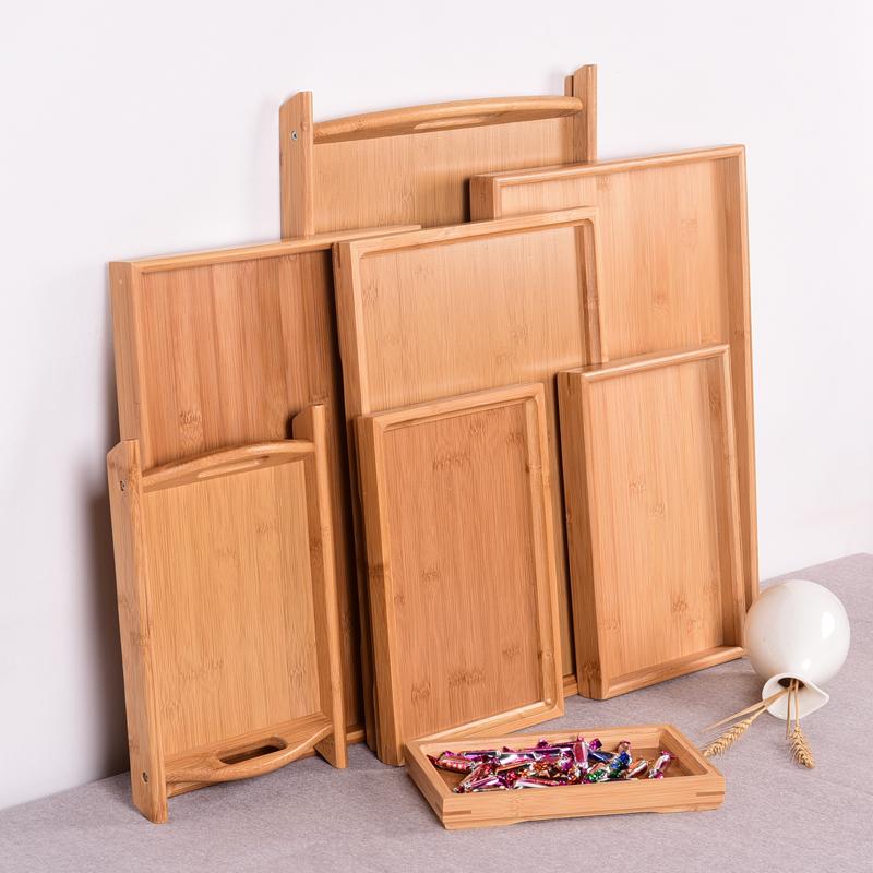 日式木质托盘长方形家用北欧竹制茶水杯茶盘托盘上菜实木头盘子