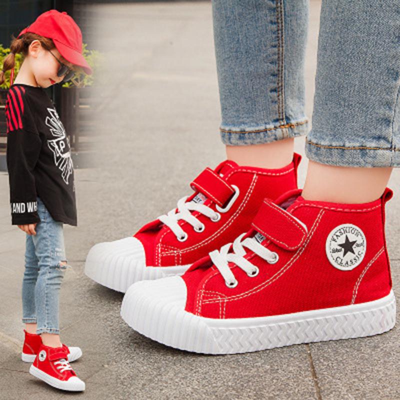 儿童帆布鞋2019新款时尚高帮板鞋中大童网红儿童魔术贴男童饼干鞋