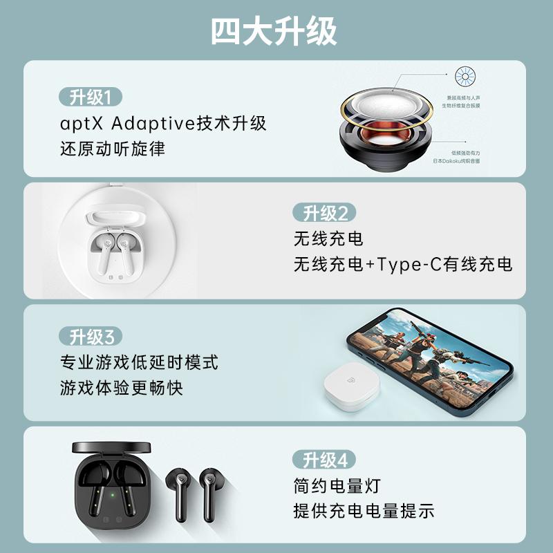 【旗舰升级】SoundPEATS/泥炭 TrueAir2+蓝牙耳机真无线双耳半入耳游戏运动女士款适用于iphone小米安卓通用