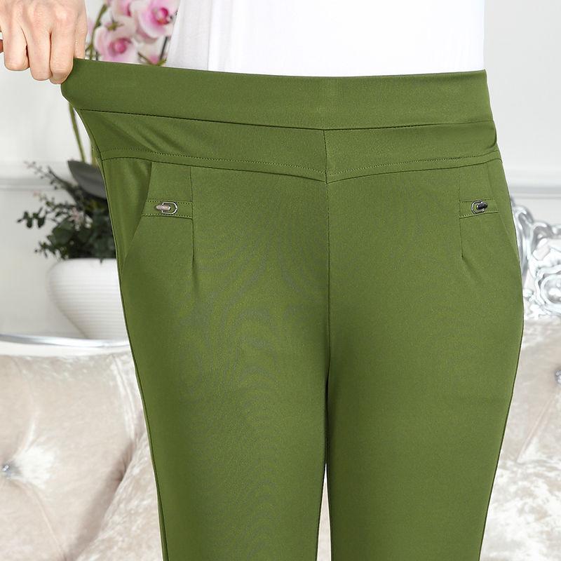 夏薄款九分裤中老年人女裤子高腰弹力彩色中年妈妈装休闲裤女秋季