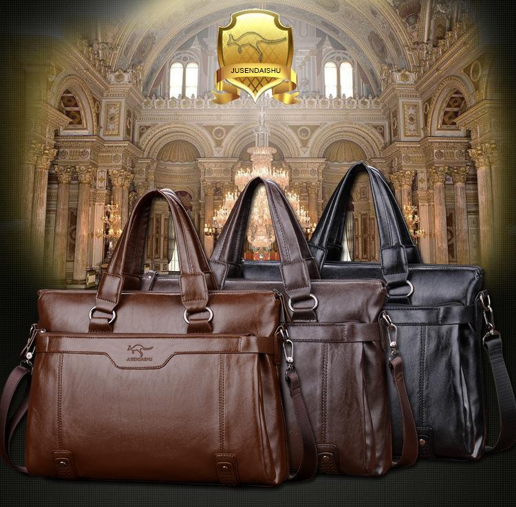 巨森袋鼠男士手提包真皮横款男包包商务牛皮单肩斜挎包休闲公文包