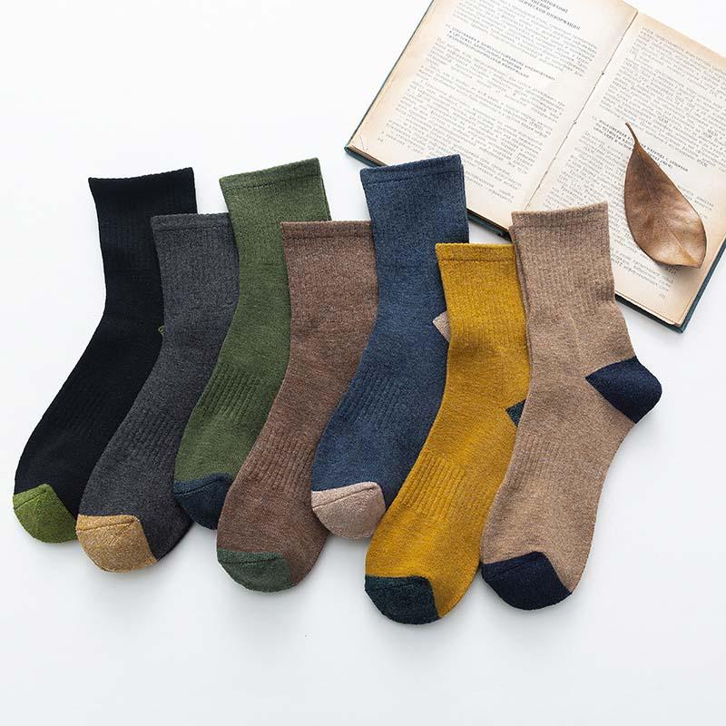 麻工匠情侣袜子女秋冬季新款加厚保暖毛圈袜男士中筒袜毛巾底长袜