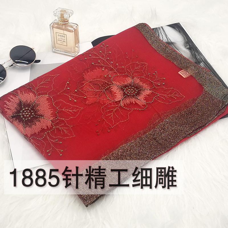 真丝丝巾女百搭春秋薄款中年妈妈桑蚕丝围巾长款红色纱巾刺绣披肩