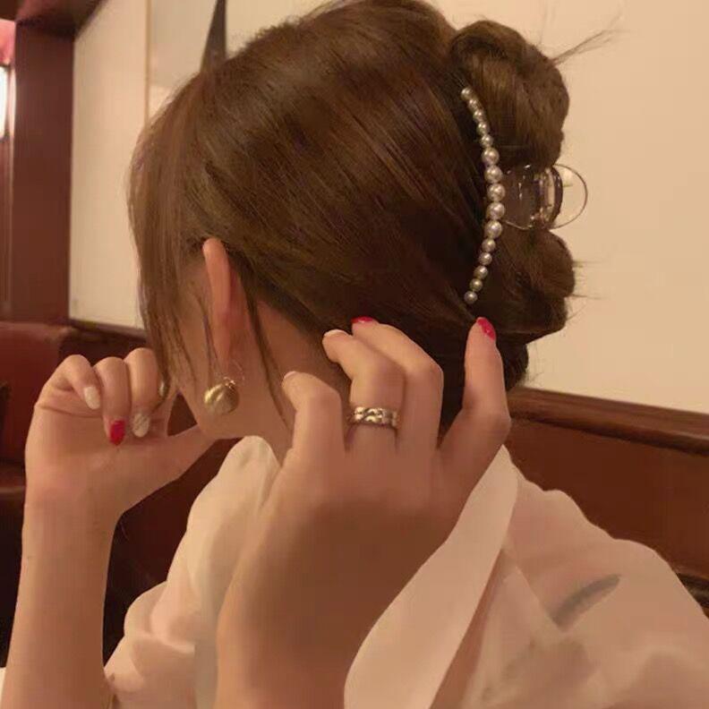 韩国进口珍珠头饰发夹后脑夹网红款少女盘发小发抓发饰品ins