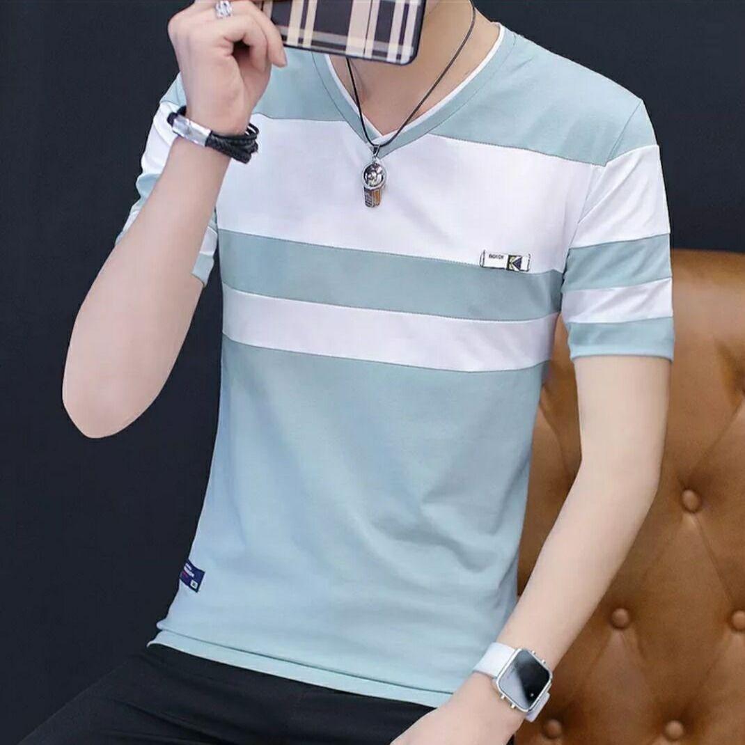 【含棉】夏季男士短袖t恤V领韩版修身半袖青年打底衫潮流男装上衣
