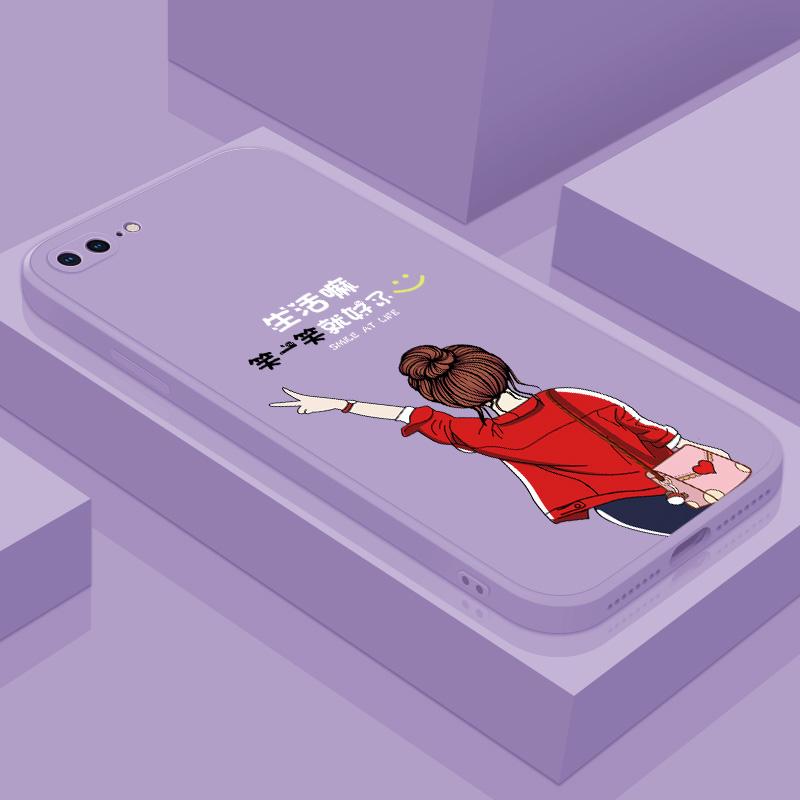 适用于苹果8手机壳软壳液态硅胶红色iPhone8plus文字款8p软壳防摔全包镜头2020年新款网红女款puls女潮保护套