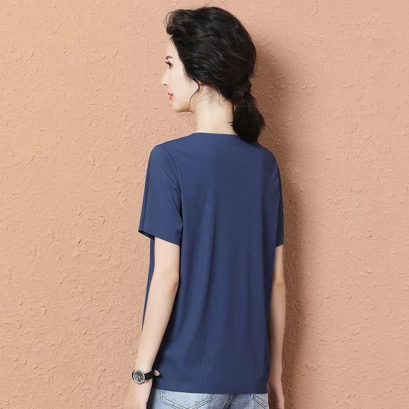 新款冰丝短袖t恤春夏季纯色女无痕薄款潮V领体恤韩版白色宽松上衣