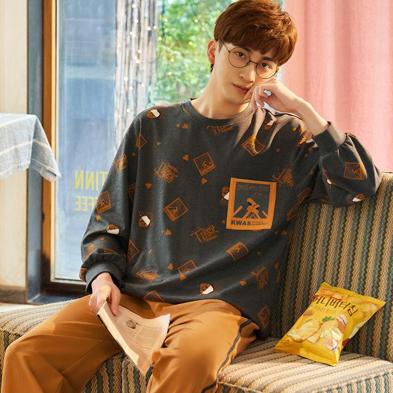 春秋冬季男士睡衣长袖纯色棉宽松大码韩版睡衣卡通两件套装家居服