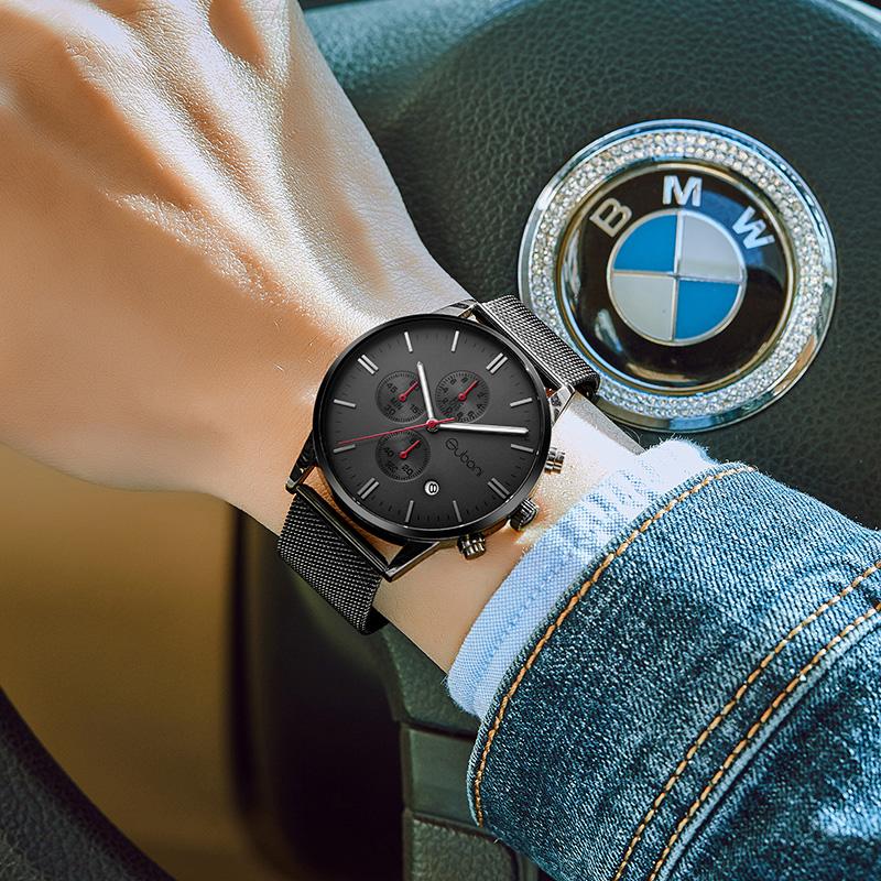 古铂尼手表男士皮带时尚款2018新款潮学生男表防水石英表非机械表