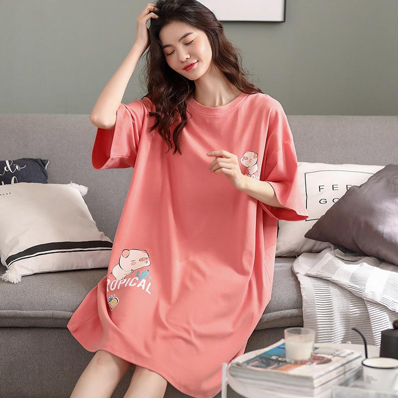 猫人新疆棉睡衣睡裙女夏薄款纯棉短袖学生网红宽松大码全棉家居服