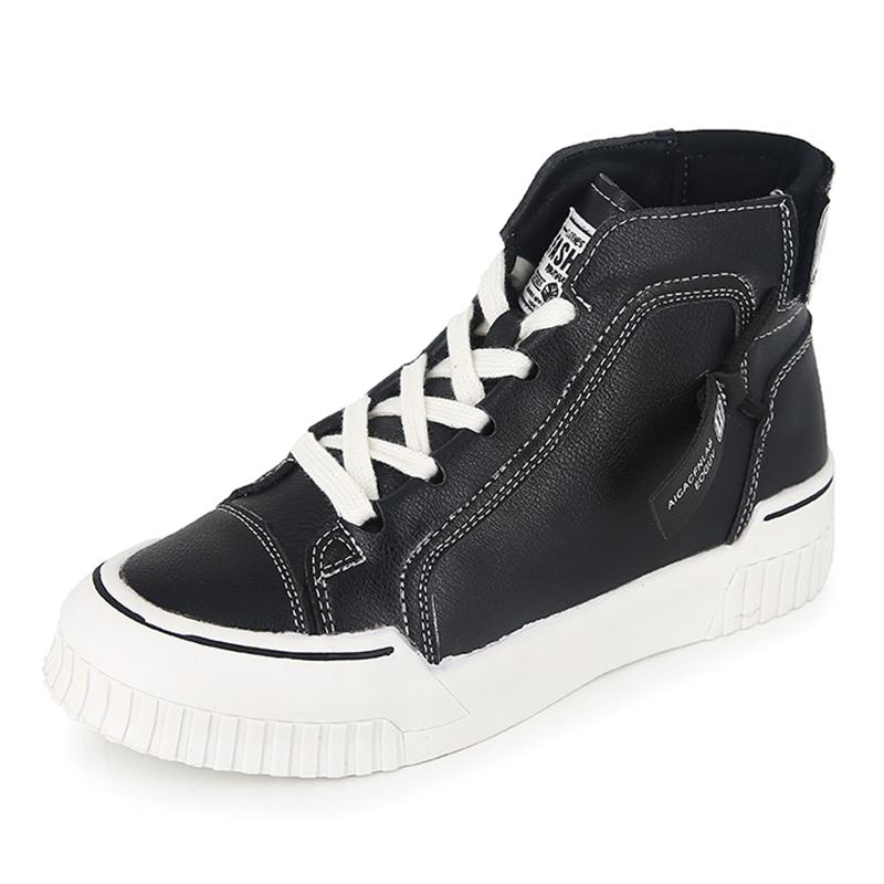2019秋季新款韩版休闲系带高帮鞋女米色单鞋板鞋拼色百搭短靴