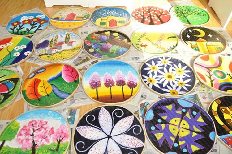绘画竹匾幼儿园走廊教室装饰手绘装饰手工竹编圆框
