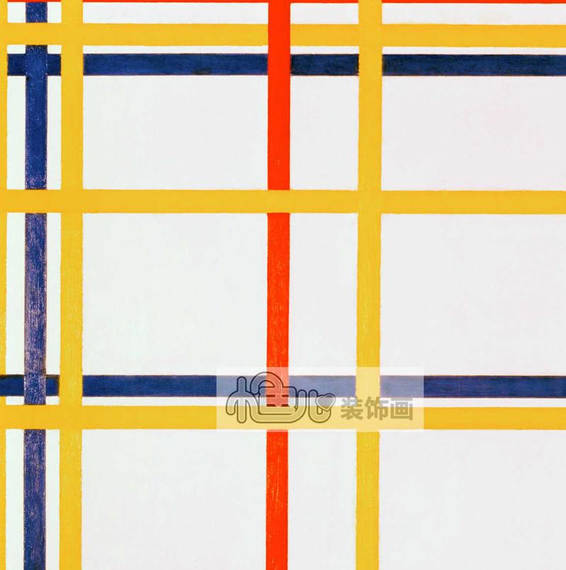 Mondrian蒙德里安《红黄蓝》色块抽象美学装饰挂画艺术时尚无框画