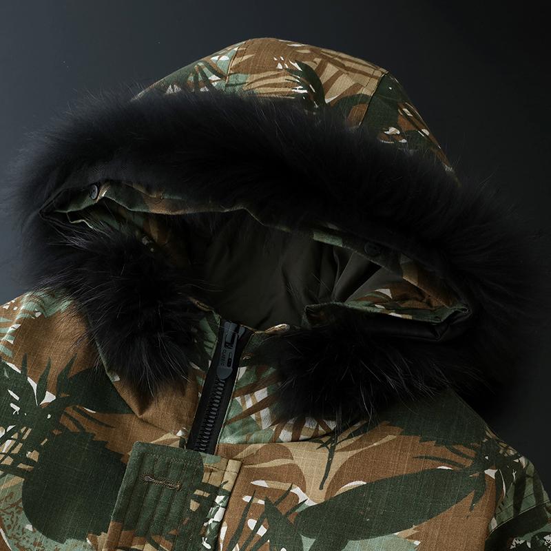 吉普盾2018新款羽绒服男青少年中长款大毛领迷彩男装加厚潮外套