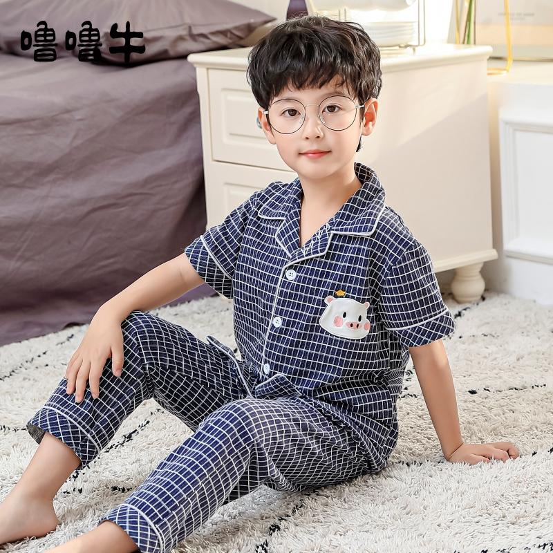 儿童睡衣男童夏季薄款纯棉短袖长裤男孩中大童夏天小孩空调家居服