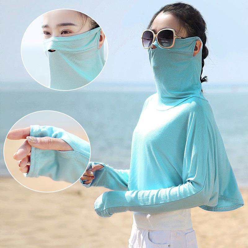 防晒面罩骑行半遮脸透气口罩女电动车护臂冰袖遮阳面纱护颈头巾夏
