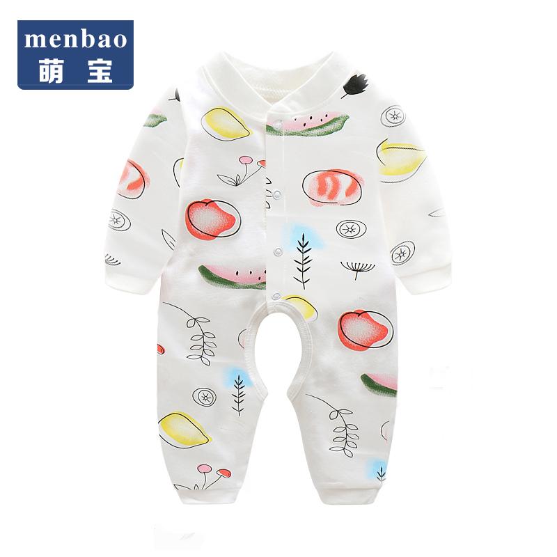 新生儿连体衣服春秋长袖纯棉婴儿休闲外出爬服哈衣0-3月宝宝睡衣