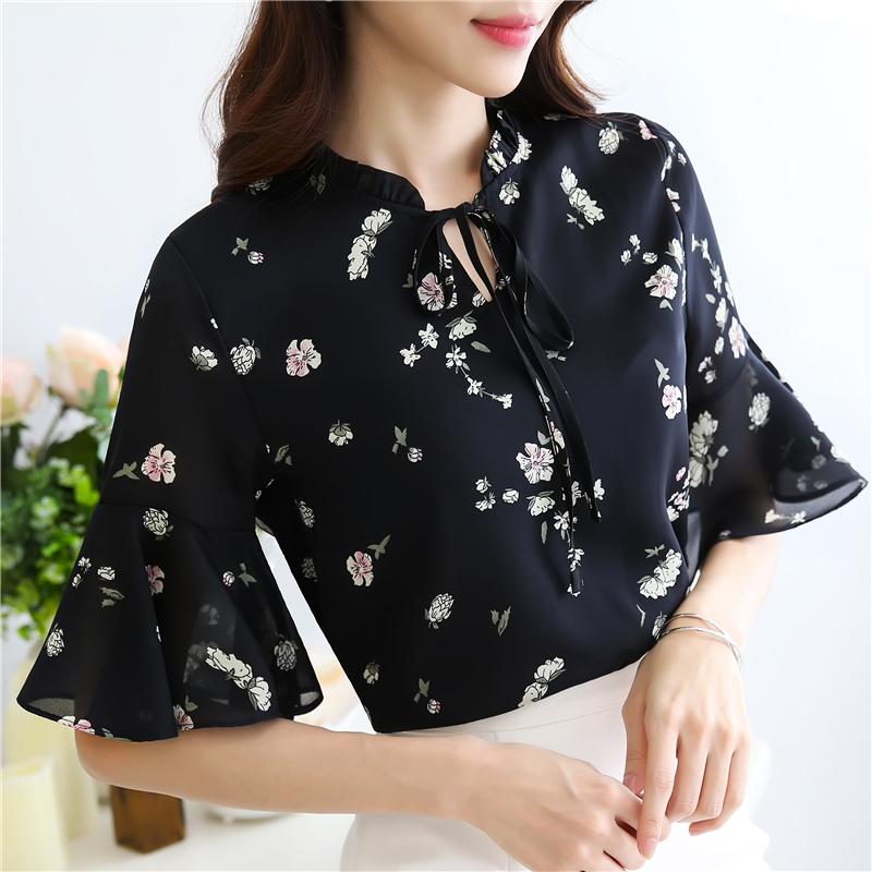 雪纺衫女夏季上衣2018新款韩版时尚显瘦系带五分袖衬衫碎花打底衫